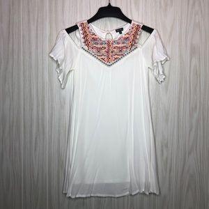 Lily Rose Embroidered Cold Shoulder Dress